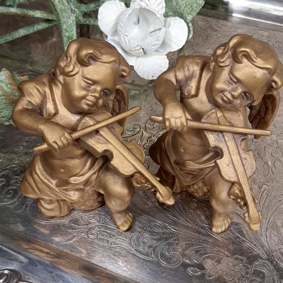 Gold angels vintage ceramic set numbered